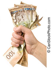 dollars, volle, hand, canadees