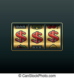 Dollars - winning in slot machine - Vector illustration of a...