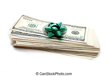 dollars with gift bow