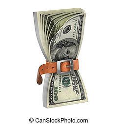 dollars with tighten belt - financial crisis 3d concept