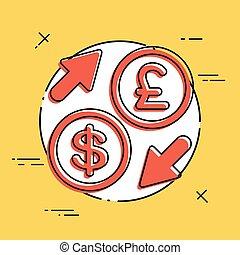 dollar/sterling, -, échange devise étrangère, icône