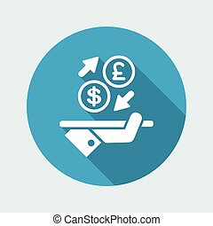 Dollar/Sterling - Foreign currency exchange icon