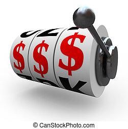 dollartecken, på, automat, hjul, -, hasardspel