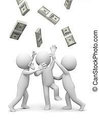 dollars - Dollar,three people snatching bundles of dollars