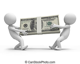 dollars - Dollar,two people carry a bundle of dollars