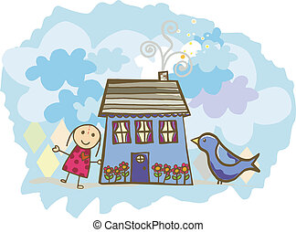Dollhouse - A dollhouse with a doll and bird.