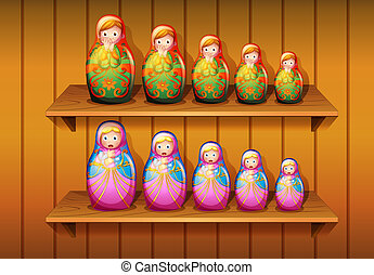 Dolls arranged in the wooden shelves - Illustration of dolls...