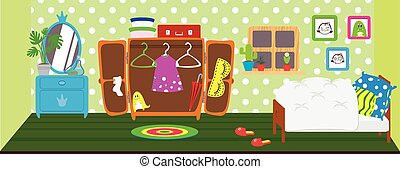 Dolls room interior. Horizontal back banner. Children...