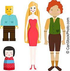Dolls toy character game dress and farm scarecrow rag-doll vector illustration