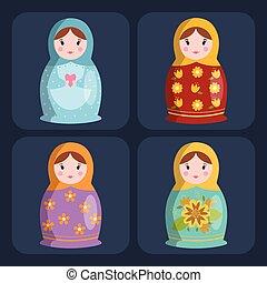 Dolls toy matreshka character game dress and farm scarecrow rag-doll vector illustration