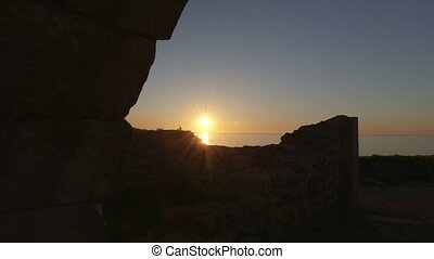 Dolly: Ancient Ruins of Tauric Chersonese at Sunset