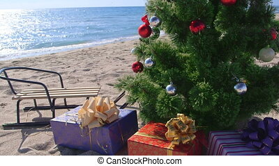 dolly:, fetes, recours, fond, plage, noël