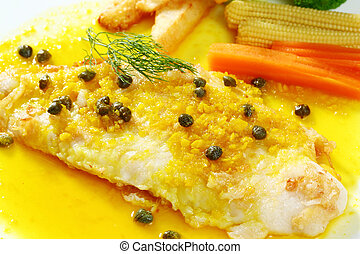 Dolly fish steak - Close up dolly fish steak with lemon ...