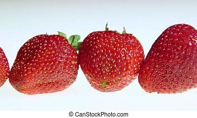 Dolly: Fresh strawberry fruit background close-up