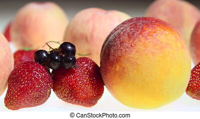 Dolly: Fresh wet fruit and berries background