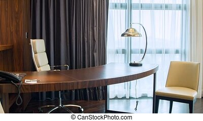 Dolly move of working desk of hotel room