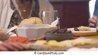 Dolly of appetizers being eaten at a social party - Dolly...