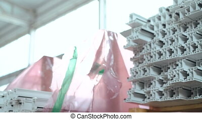 Dolly of PVC profiles, plastic windows manufacture. 4k