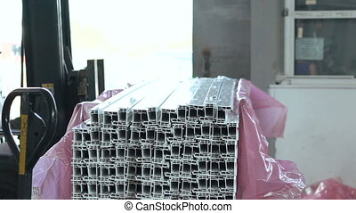 Dolly of PVC profiles, plastic windows manufacture. Full HD