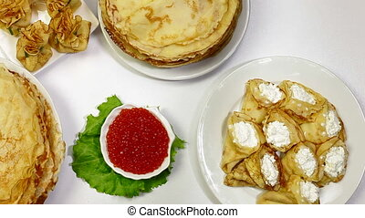 DOLLY: Pancakes on Maslenitsa - Pancakes on dining table - a...