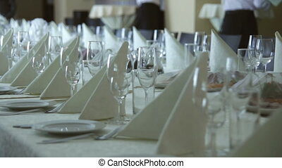 Dolly shot: banquet table - Dolly shot. Served banquet table...