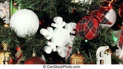 dolly shot Christmas Tree Ornaments. A dolly shot shot of a decorated Christmas tree with ornaments