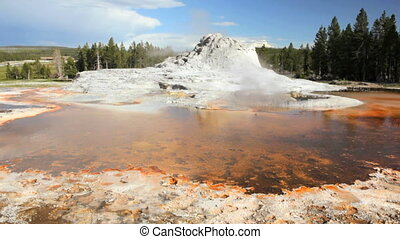 Castle Geyser - Dolly shot of Castle Geyser, Yellowstone...