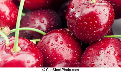 Dolly shot of Fresh, ripe, juicy cherries. - Dolly shot of...