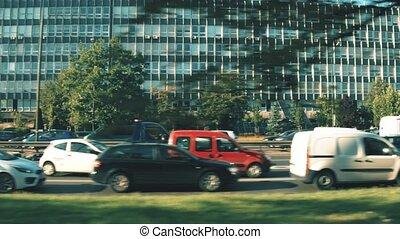 Dolly shot of urban traffic jam on rush hour - Traffic jam...