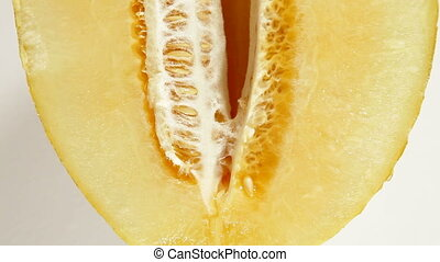 DOLLY: Sliced Melon - Sliced  melon on white dolly shot