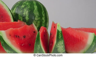 DOLLY: Slices of red watermelon