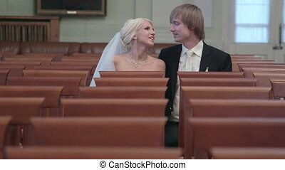 DOLLY: Wedding couple in empty hall