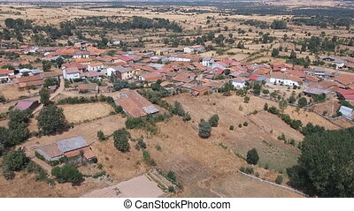 Dolly zoom over vintage village in the plain, Spain - Aerial...