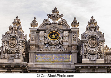 Dolmabahce palace in Istanbul, Turkey, details of Baroque Architecture