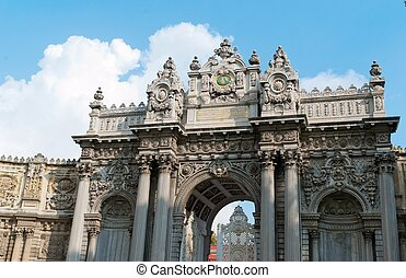 Dolmabahce palace entrance in Istanbul in turkey