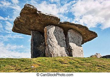 dolmen, uralt, grab, irland, westen