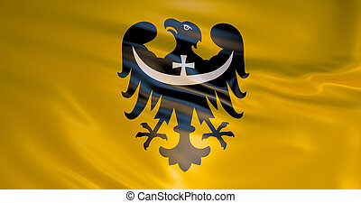 Lower Silesian Voivodeship Flag. High quality 3d detailed illustration. Realistic background. Wroclaw