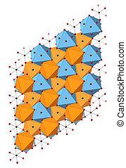 Dolomite (calcium magnesium carbonate, CaMg(CO3)2) mineral, crystal structure.