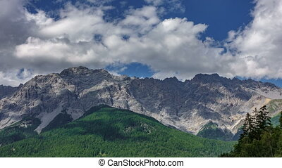 Dolomite granite peaks time lapse - Long shot of Dolomite...