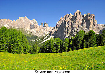 Italy Alps - Dolomite peaks, Rosengarten, Val di Fassa, ...
