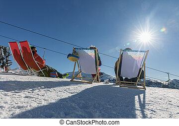 dolomiten, fahren schi bereich, mit, schöne , slopes., leerer , schineigung, in, winter, auf, a, sonnig, day., vorbereitet, piste, und, sonniger tag