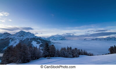 Dolomites cloudscape sunrise - Beautiful time lapse of the...