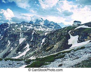 DOLOMITES, ITALY - May 26, 2018: Refugio Auronzo, Alpine hut 2333m