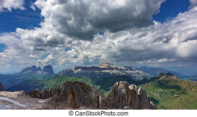 Dolomites plateau time lapse from Marmolada middle point -...