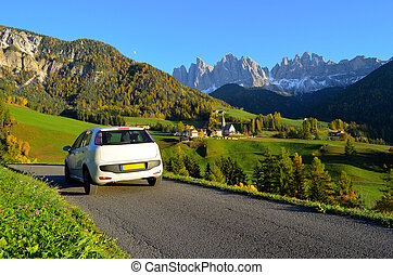 Dolomites road trip - Road trip in a white car in autumn...