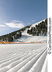 Dolomites, ski area with beautiful slopes. Empty ski slope...