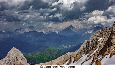 Dolomites time lapse from Marmolada top point
