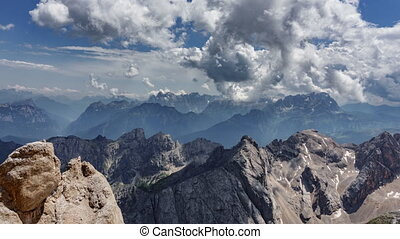 Dolomites time lapse from Marmolata top point