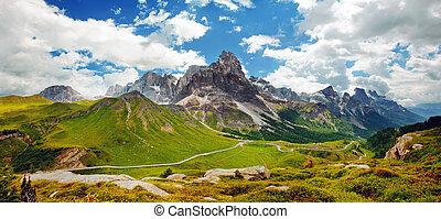 dolomiti, bello, -, panoramico, italiano, vista