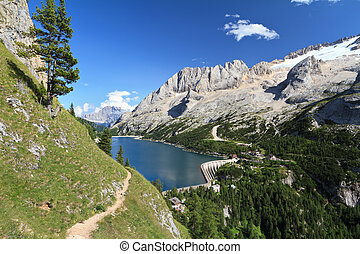 Dolomiti - Fedaia pass with lake